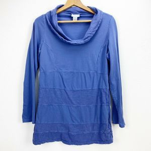 Soft Surroundings Blue Cowl Neck Tunic Top Medium